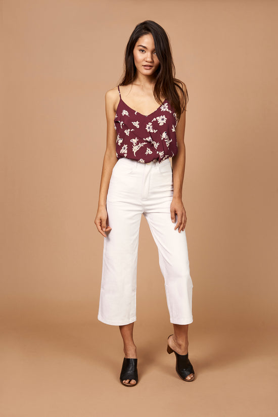 Emily Ruffle Cami in Maroon Floral - Whimsy & Row