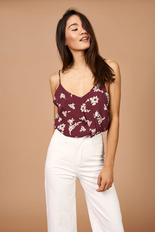 Emily Ruffle Cami in Maroon Floral