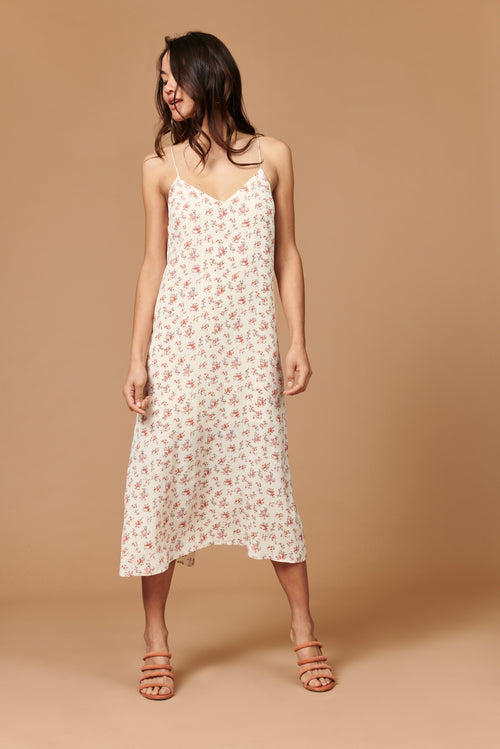 Jade Midi Dress in Ivory Floral