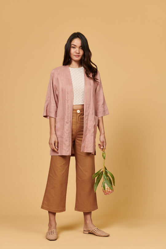 Frances Duster in Blush Linen