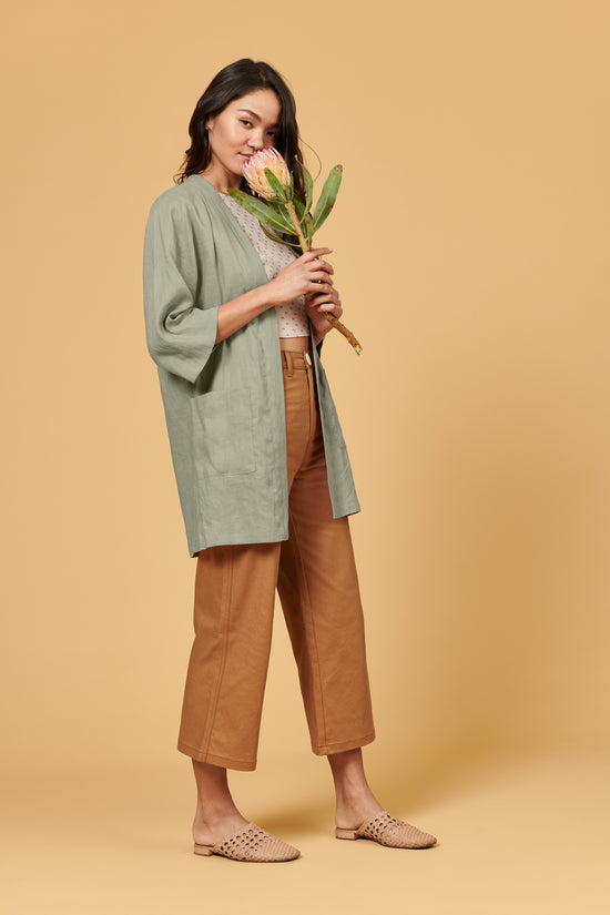 Frances Duster Sage Linen - Whimsy & Row