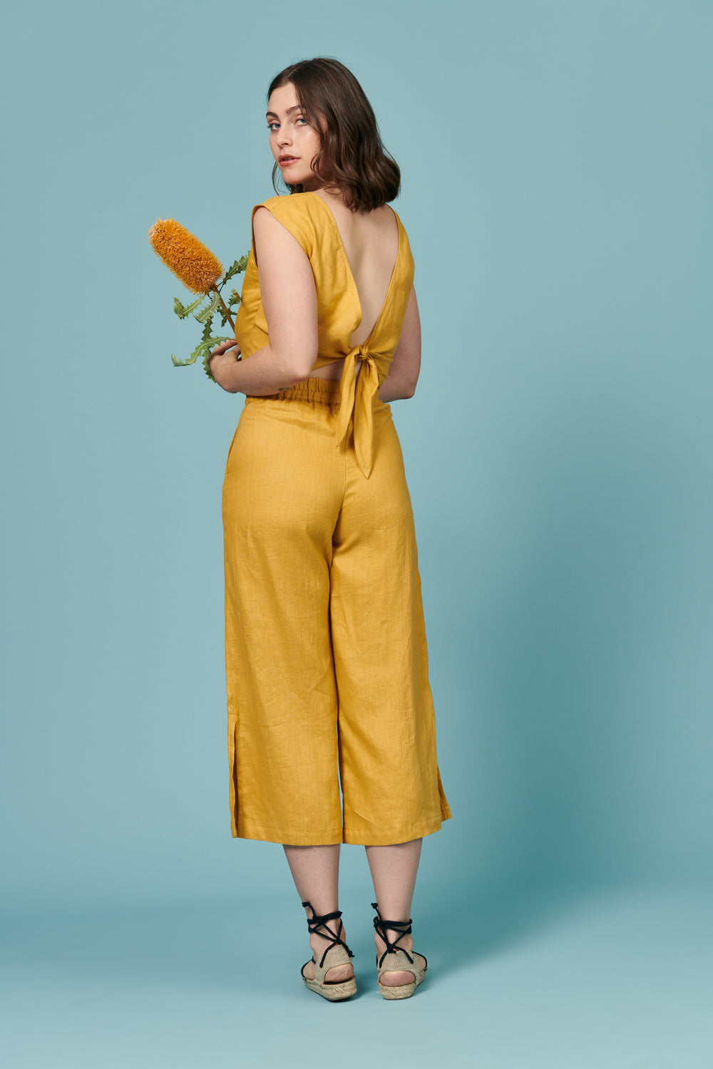 Valentina Pant in Topaz Linen - Whimsy & Row