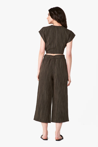 Valentina Wide Leg Trouser in Black Stripe Linen