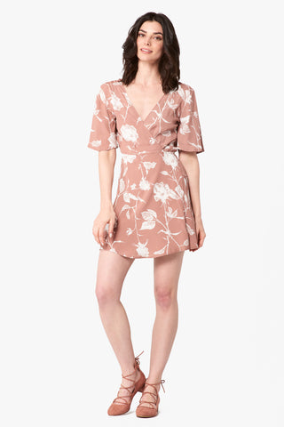 Marianne Wrap Dress in Mauve Floral
