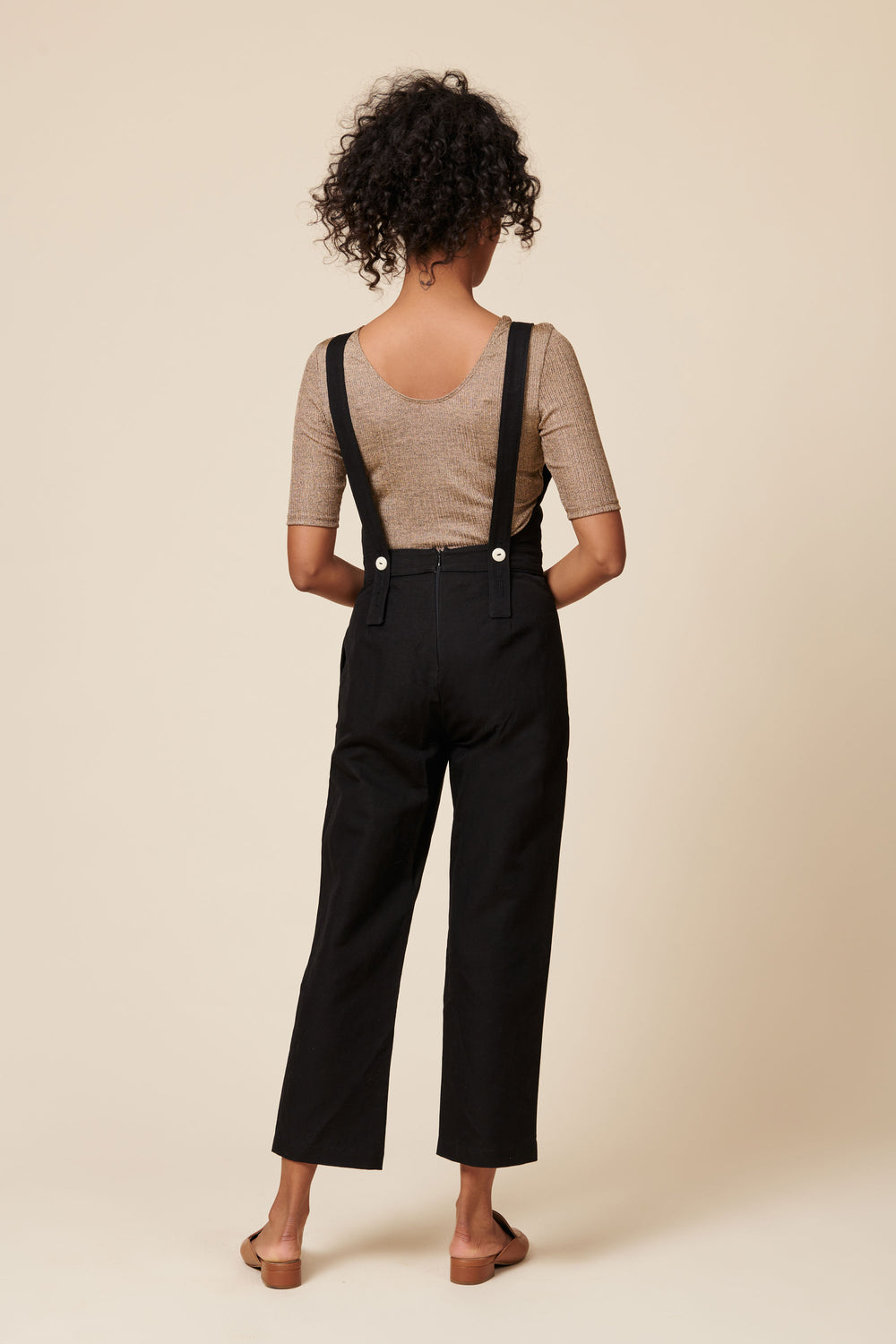 Billie Overalls in Black Linen Canvas - Whimsy & Row