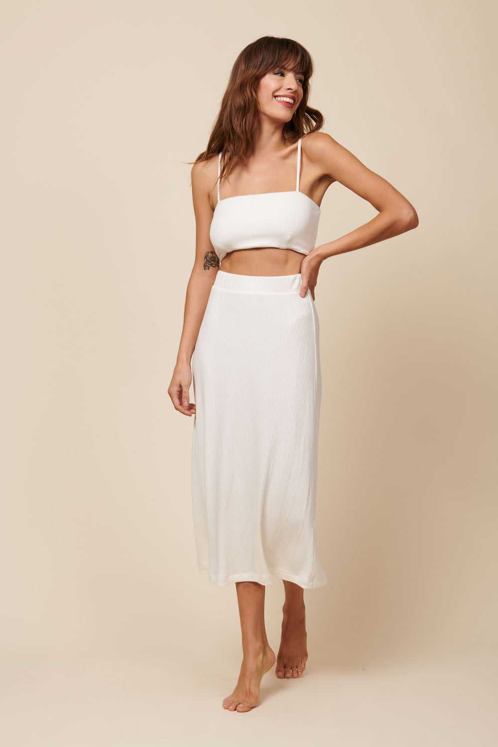 Lennon Crop in Cream Rib - Whimsy & Row