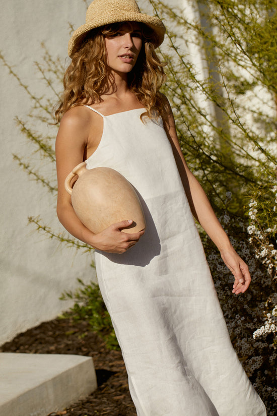 Loni Dress in White Linen - Whimsy & Row