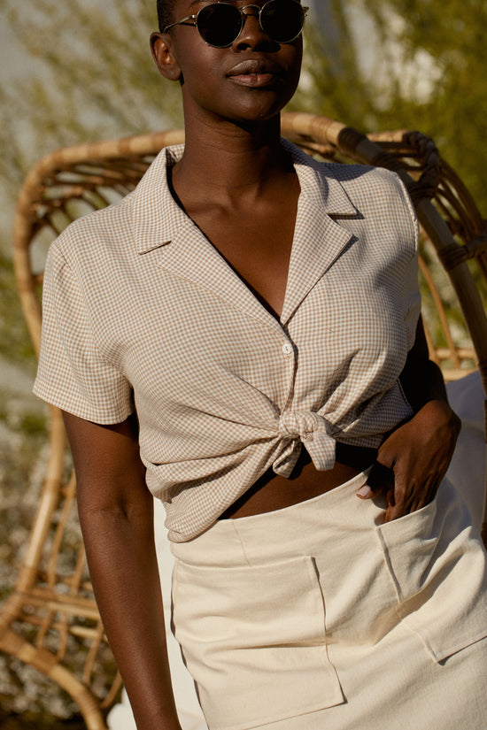 Lena Button Down in Beige Gingham - Whimsy & Row