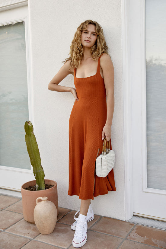 Frankie Dress in Rust Rib - Whimsy & Row