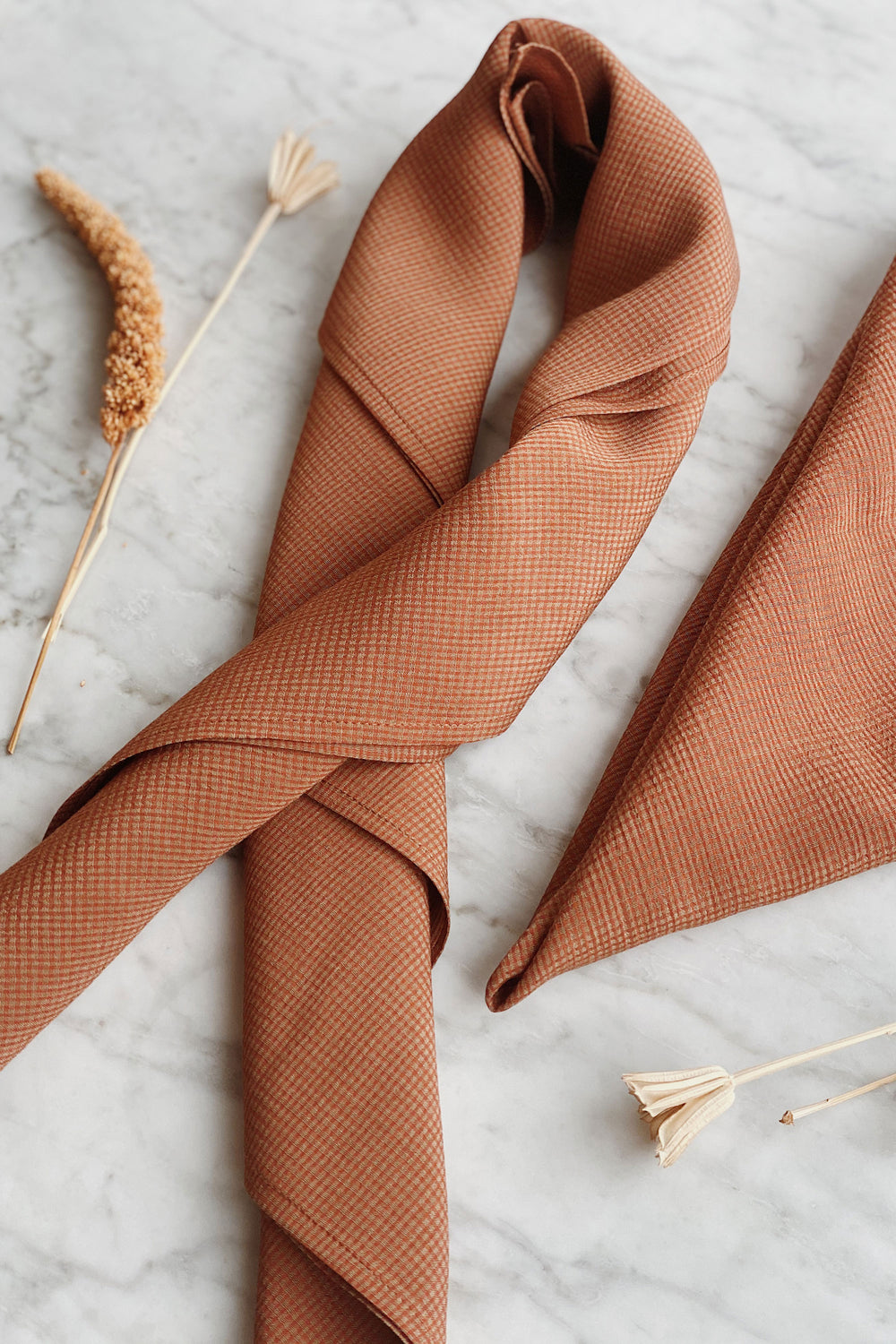 Recycled Square Bandana in Rust Gingham - Whimsy & Row