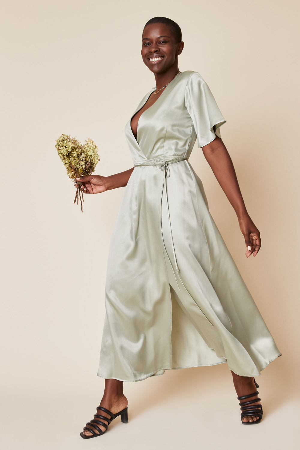 Lola Wrap Dress in Sage - Whimsy & Row