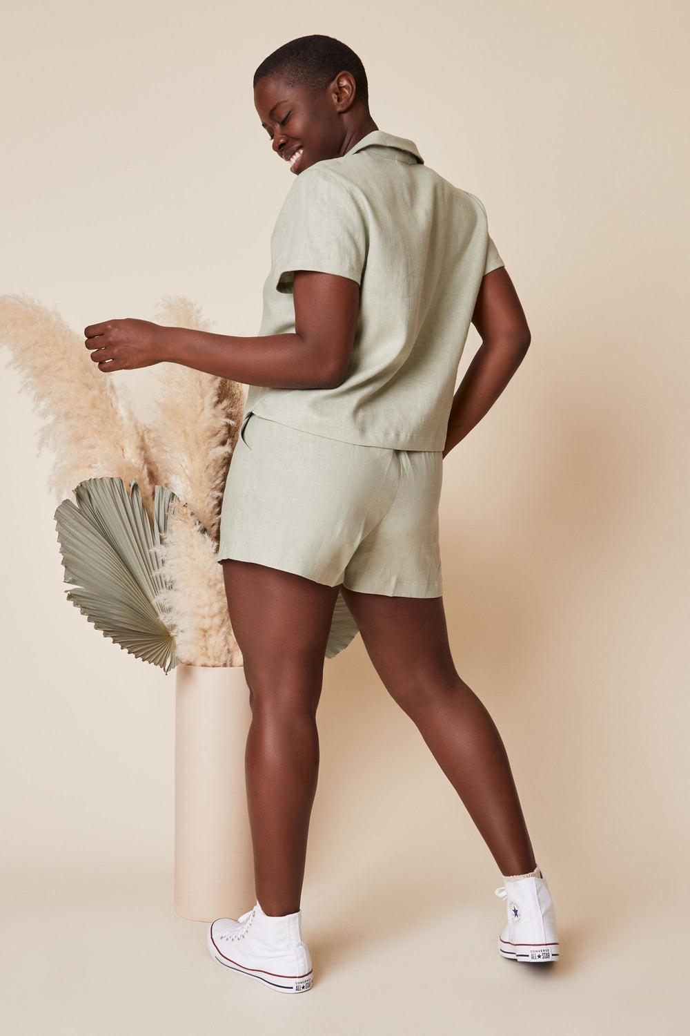 Valentina Shorts in Sage Linen - Whimsy & Row