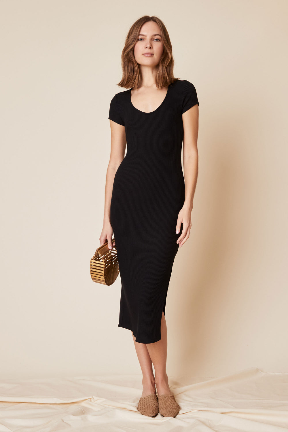 Rachel Dress in Black Rib - Whimsy & Row