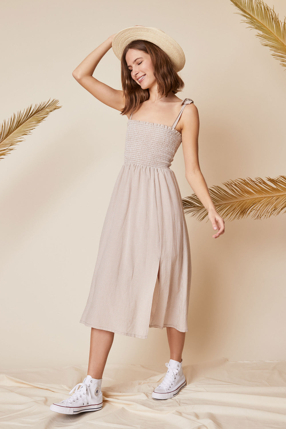 Sophie Dress in Beige Gingham - Whimsy & Row