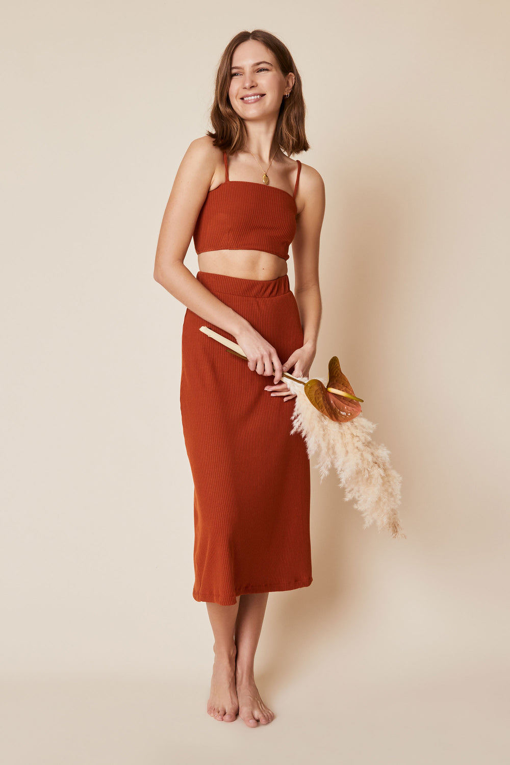 Finn Skirt in Rust Rib - Whimsy & Row
