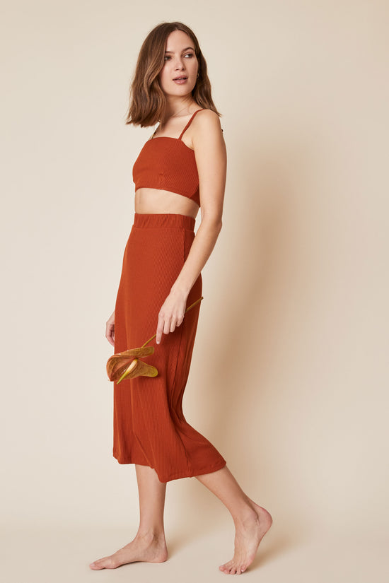 Lennon Crop in Rust Rib - Whimsy & Row