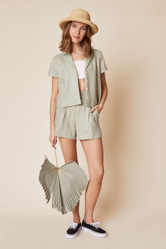 Lena Button Down in Sage Linen - Whimsy & Row