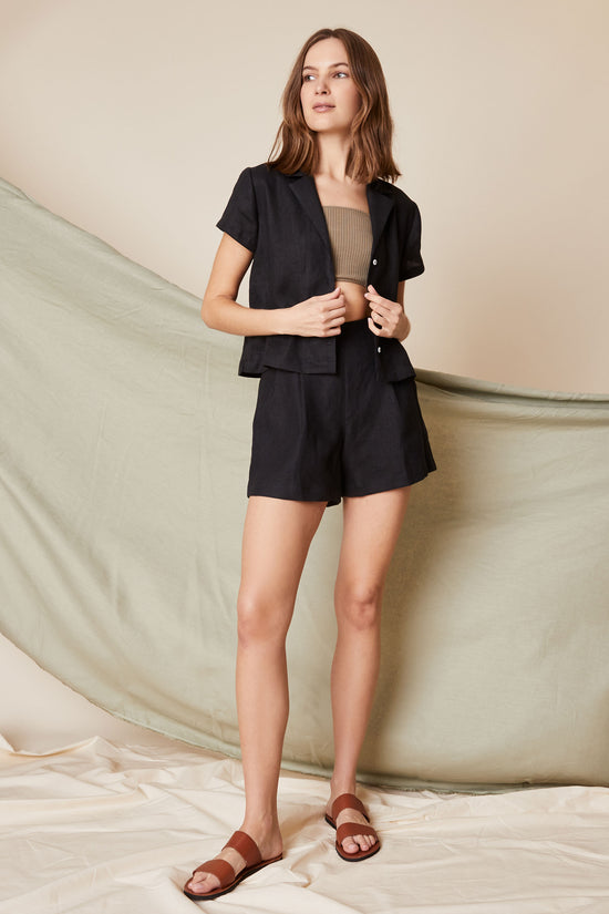 Lena Button Down in Black Linen - Whimsy & Row