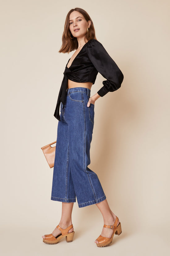 Flora Pant in Dark Denim - Whimsy & Row
