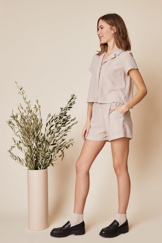 Valentina Shorts in Beige Gingham - Whimsy & Row