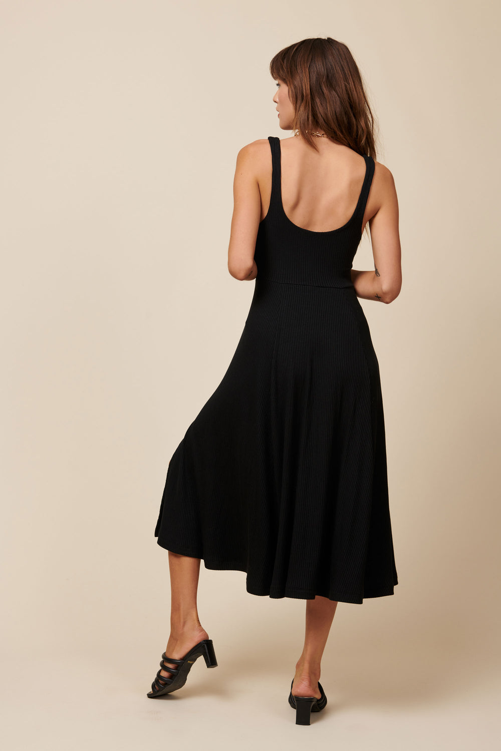 Frankie Dress in Black Rib - Whimsy & Row