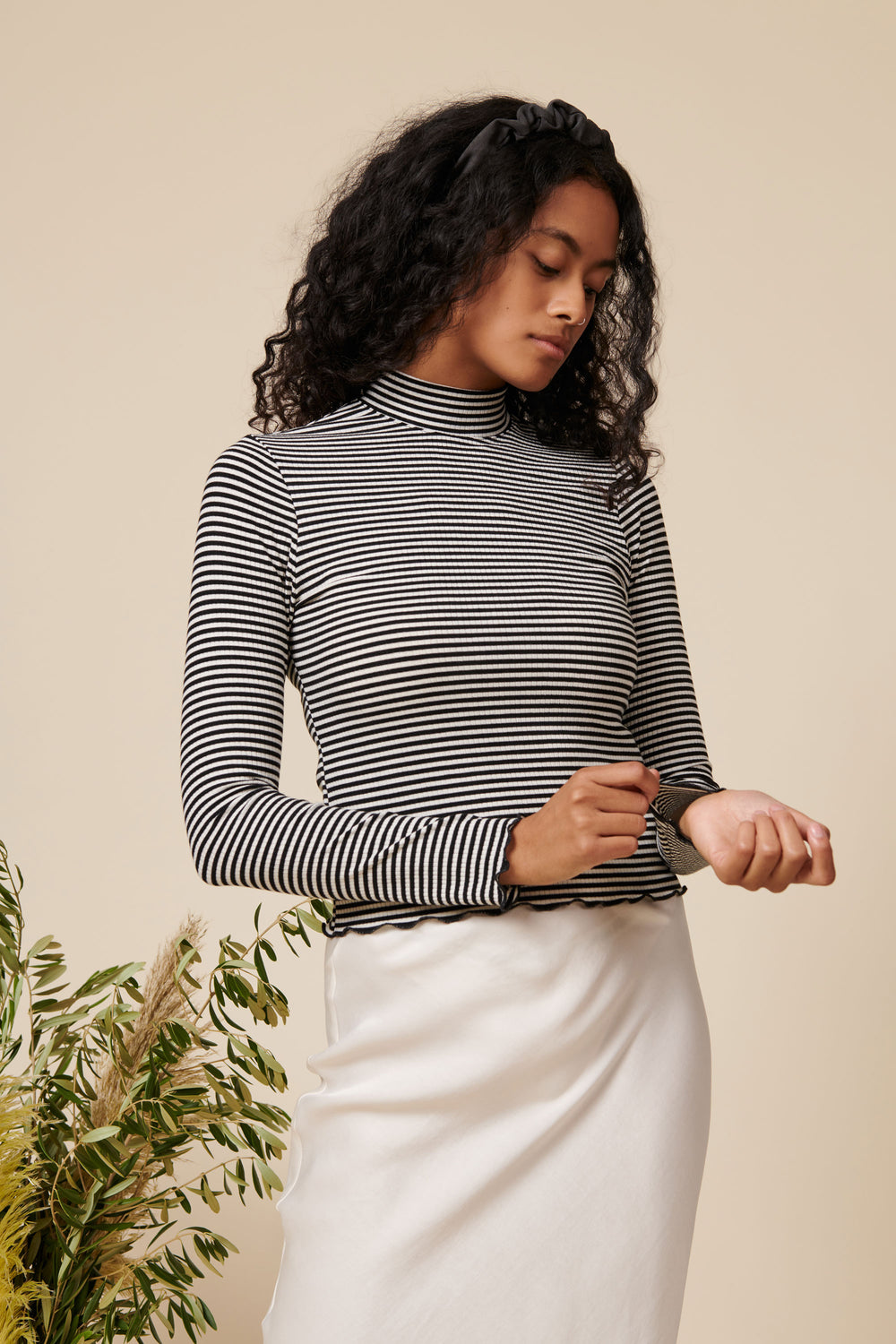 Gigi Top in White and Black Stripe - Whimsy & Row