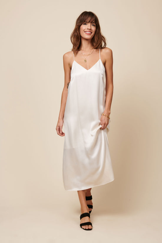 Jade Dress in Shiny Cream - Whimsy & Row