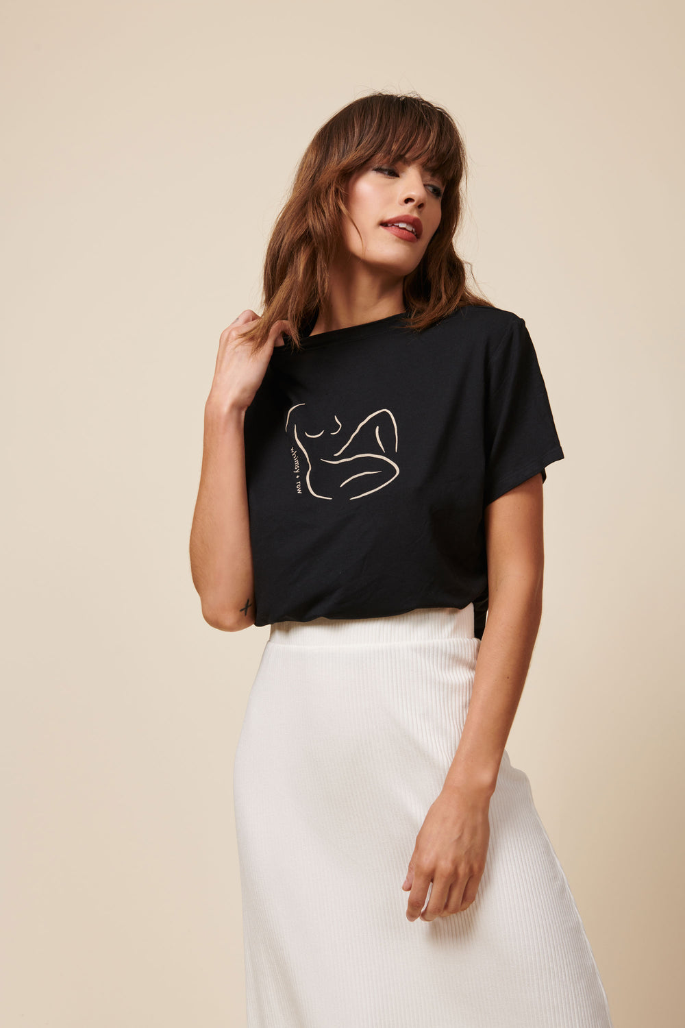 Lex Tee in Lady Print Black - Whimsy & Row