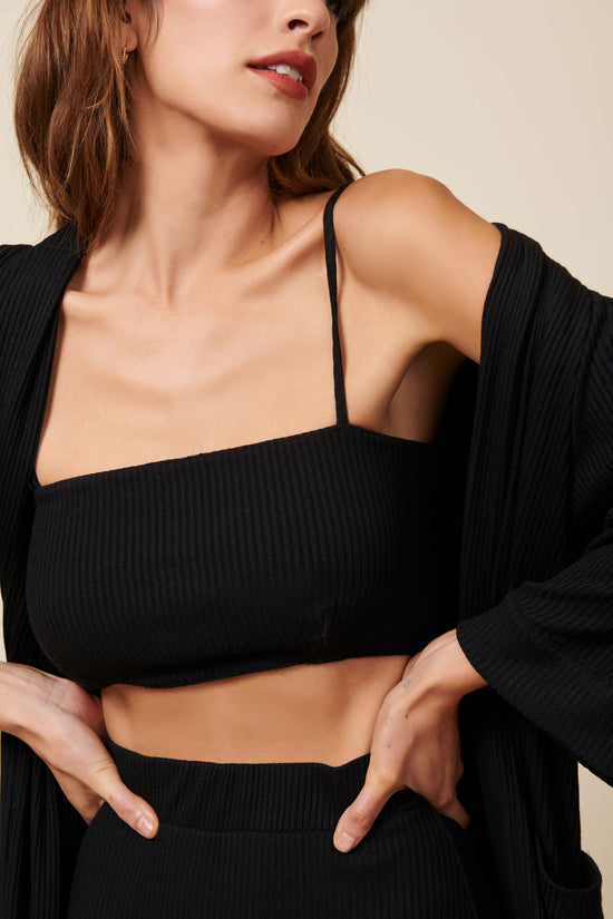 Lennon Crop in Black Rib - Whimsy & Row