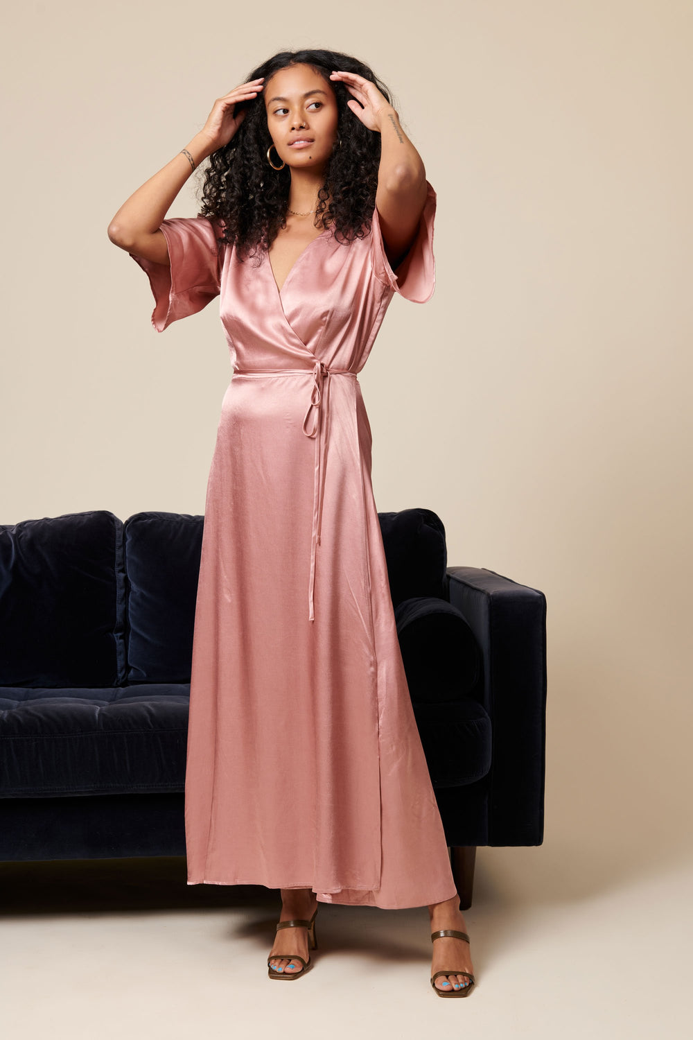 Lola Wrap Dress in Blush - Whimsy & Row