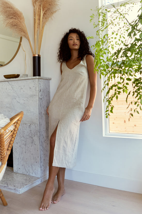 Luna Dress in Stripe Linen - Whimsy & Row