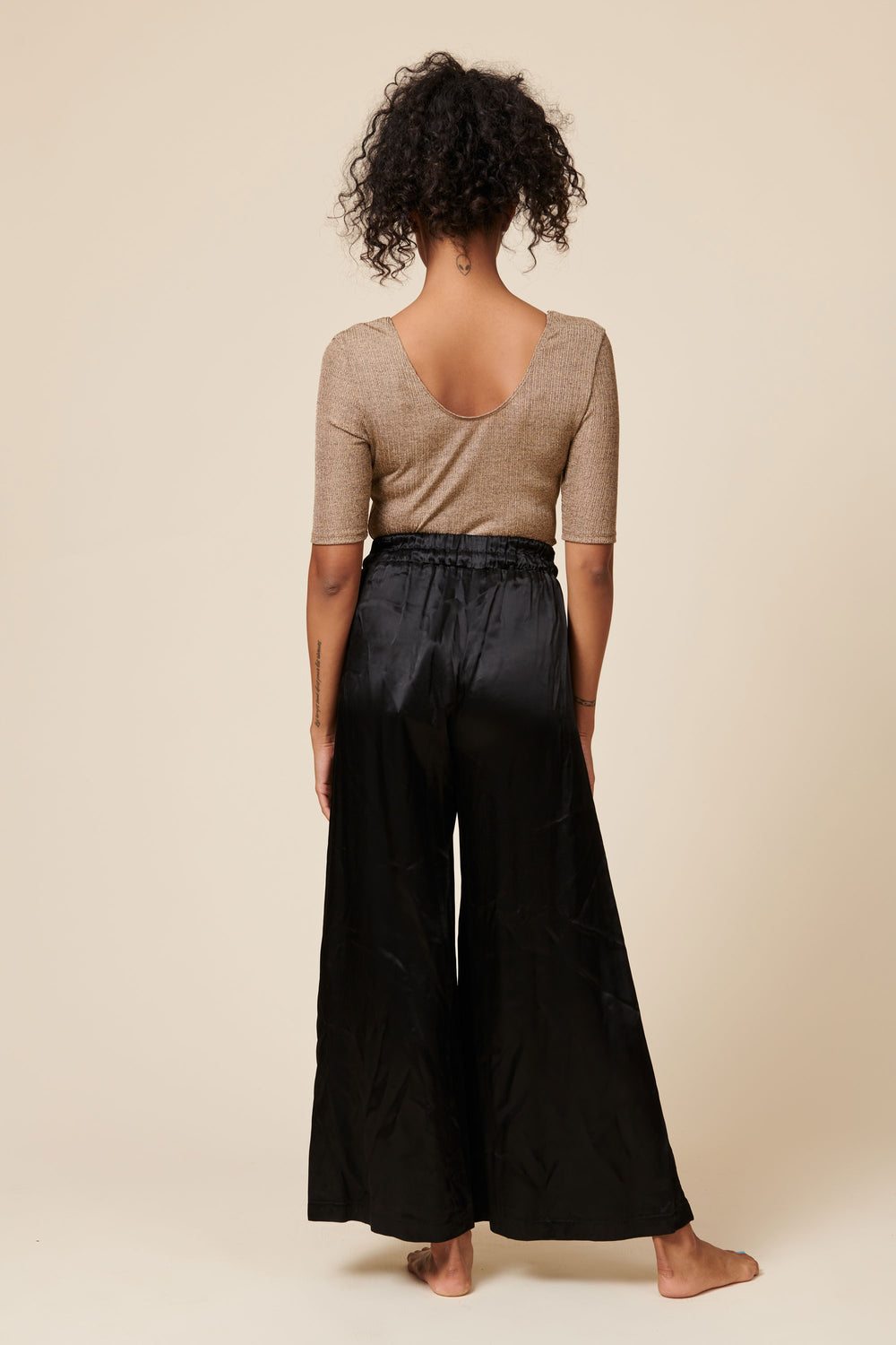 Norah Pants in Shiny Black - Whimsy & Row