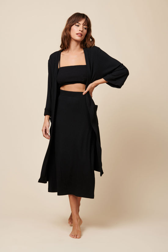 Frances Duster in Black Rib - Whimsy & Row
