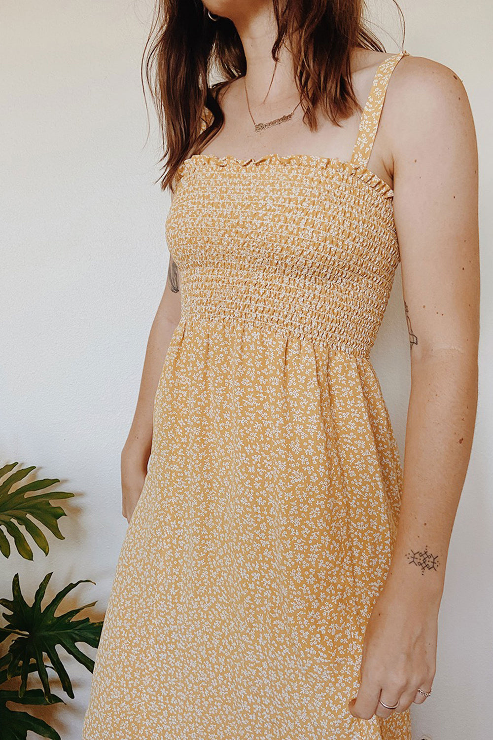 Sophie Dress in Yellow Petite Floral - Whimsy & Row