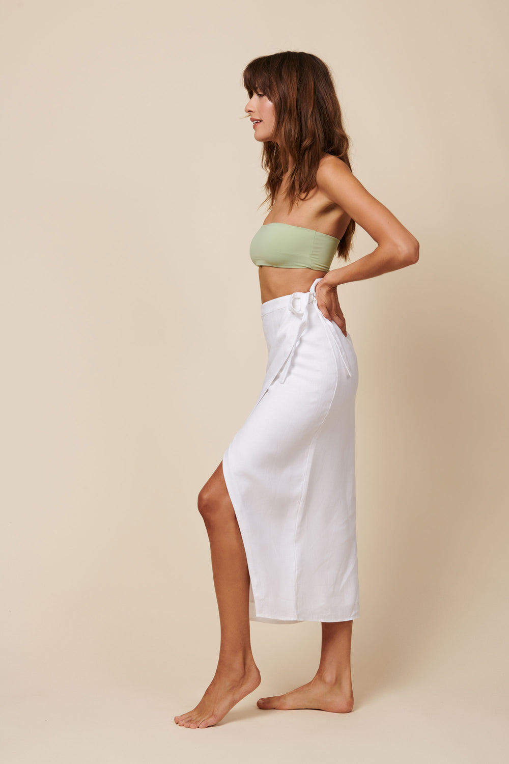 Valentina Skirt in White Linen - Whimsy & Row