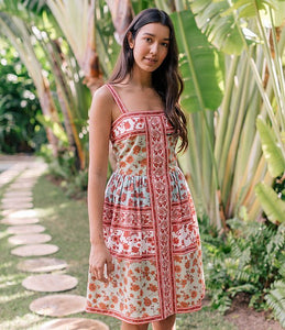 Gianna Dress in Mint Coral Floral
