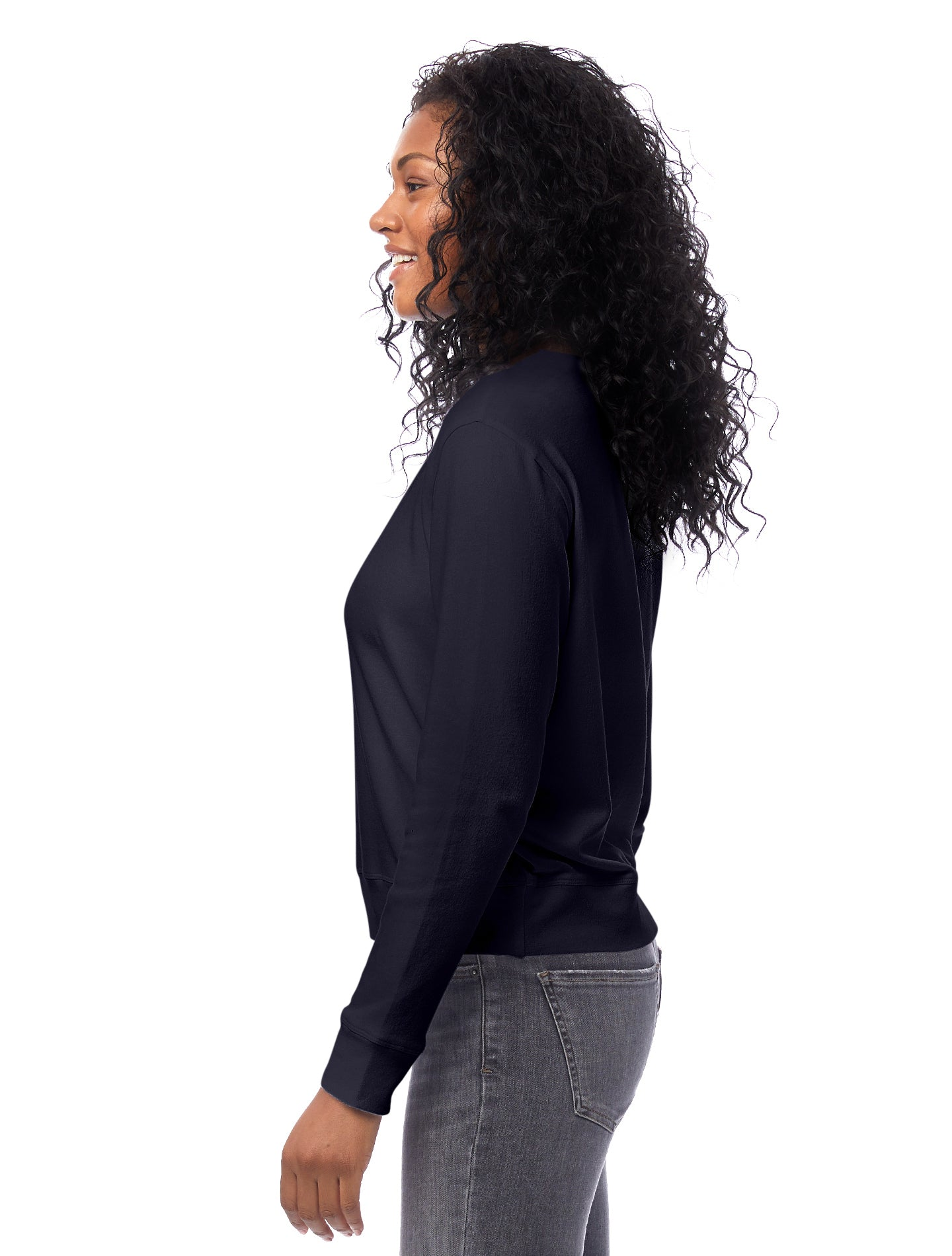 Cotton Modal Pullover Sweatshirt in Midnight