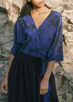 Load image into Gallery viewer, Bea Silk Blouse in Blue Animal