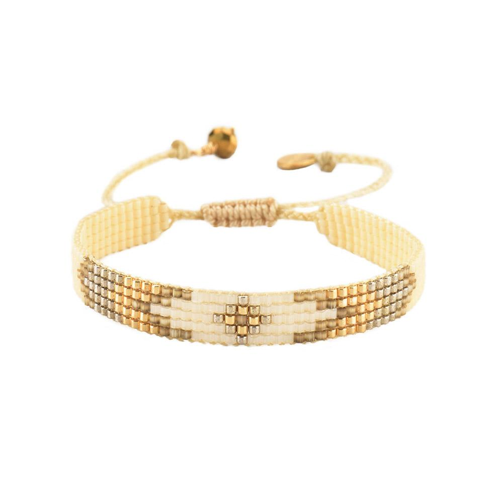 Peeky XS Beaded Bracelet in White/Gold