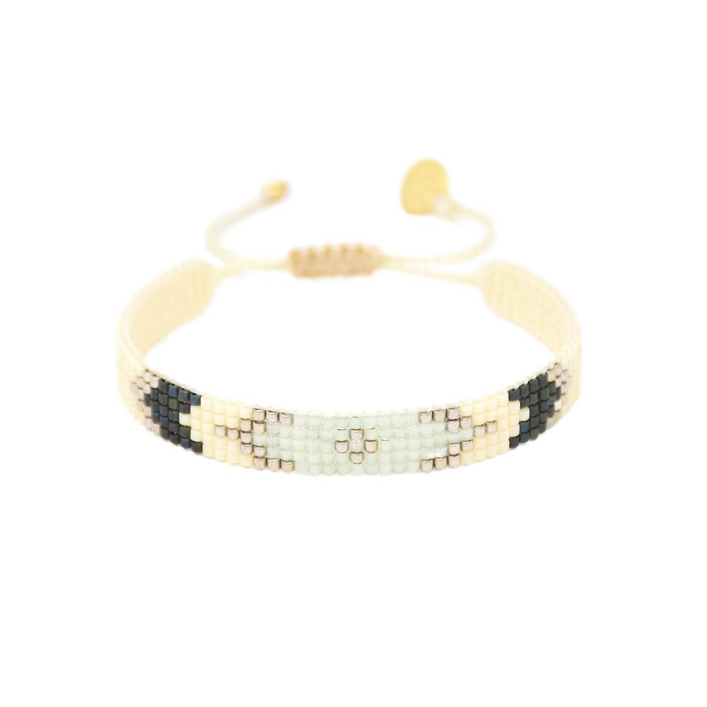 Peeky XS Beaded Bracelet in Cream/Grey