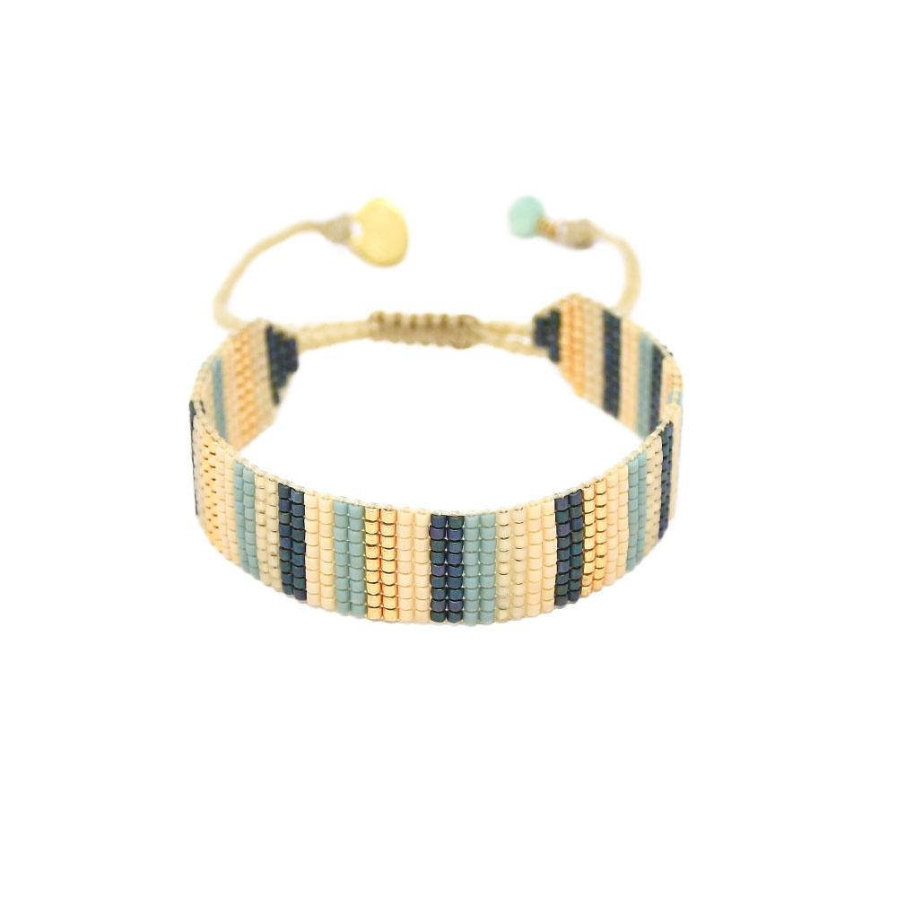 Lineal Beaded Bracelet in Slate/Gold