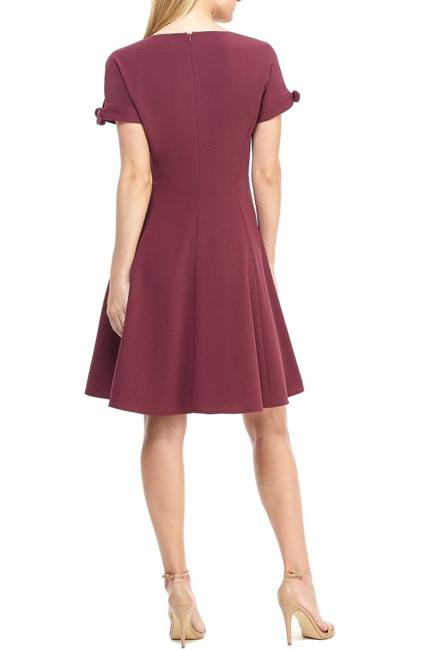 Serena Tie Cuff Fit & Flare Dress in Napa Grape