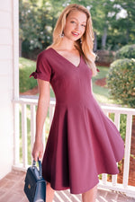 Load image into Gallery viewer, Serena Tie Cuff Fit & Flare Dress in Napa Grape