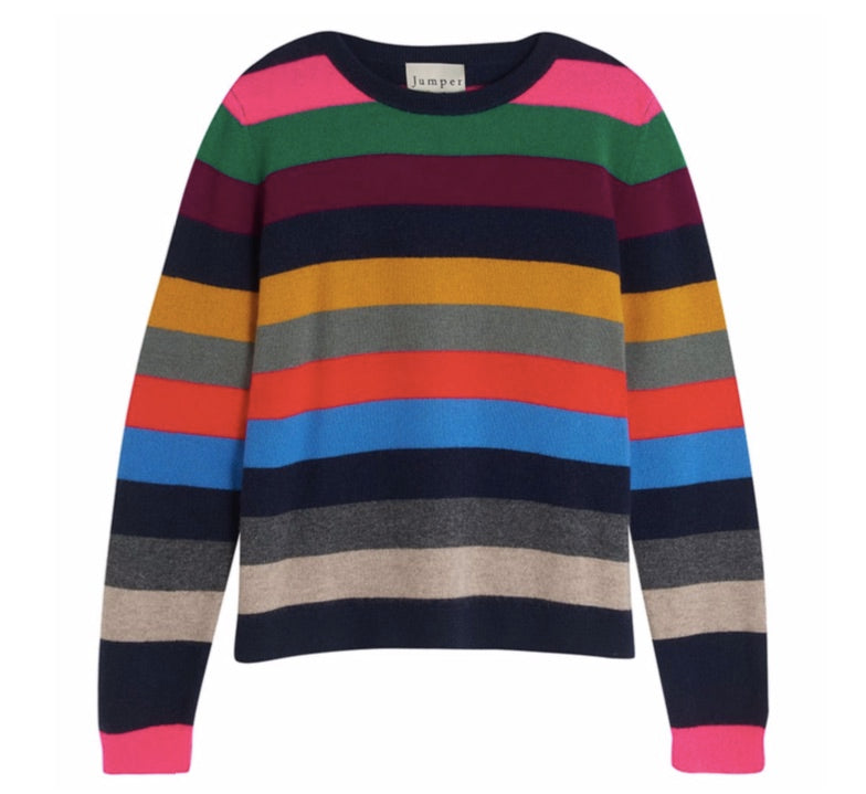 Multi Stripe Cashmere Sweater in Jewel Multi