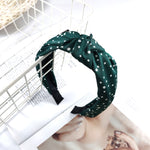 Load image into Gallery viewer, Tiny Dot Headband in Forest Green Combo