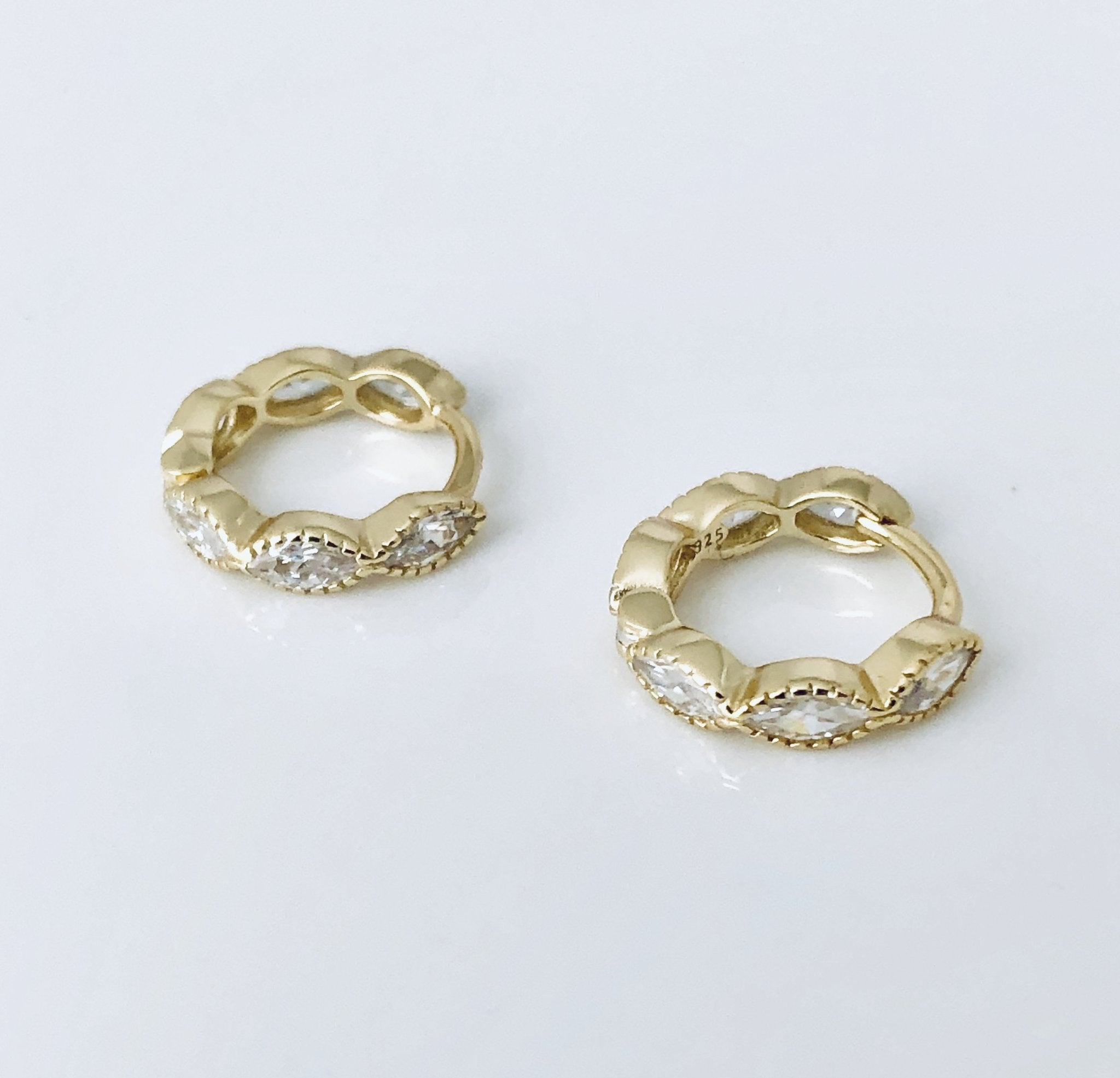 Gold Oval Huggie Earrings