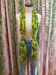 Large Flower Print Scarf in Green
