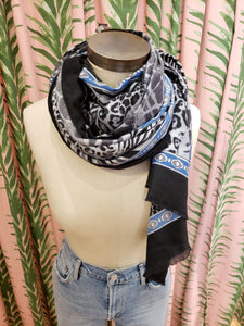 Multi Animal Scarf in Black/Grey