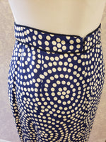 Load image into Gallery viewer, Henley Pencil Skirt in Navy Lily Pond