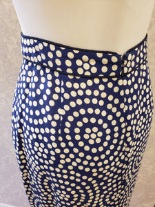 Henley Pencil Skirt in Navy Lily Pond